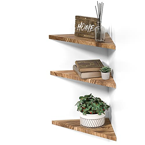 DELFOY Wall Mounted Rustic Wood Straight Edge Corner Shelf Storage Rack, Bookcase, Floating Shelves Home Decor for Bedroom, Living Room, Office and Kitchen, Set of 3 (Straight Edge)