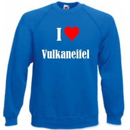 Reifen-Markt Sudadera con texto 'I Love Vulkaneifel para mujer, hombre y niños en los colores negro, blanco y azul con impresión azul Tamaño de la cintura:90