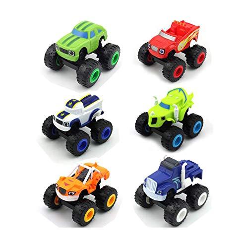 DYB Toys Juguetes para niños de 1 2 3 años niños y Monster Machines Super Stunts Blaze Kids Truck Car Regalo para niños en cumpleaños Navidad -Juego de 6 Piezas de Juguete para Coches de camión