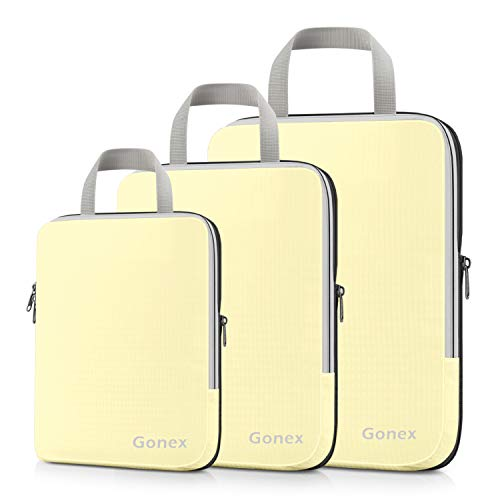 Compression Packing Cubes, Gonex Travel Organizers Upgraded 3PCS L+M+S(Cream)