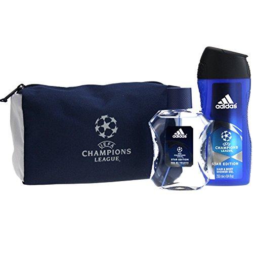 Adidas Champions League Geschenkset 100ml EDT + 250ml Duschgel + Kulturbeutel