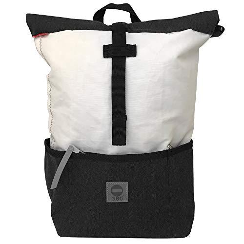 360° Grad Rucksack Lotse, Damen-Tasche unisex aus Segeltuch weiß anthrazit, wasserdicht, maritim, wasserdicht