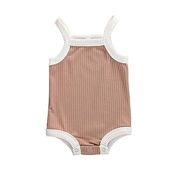 Kuriozud Newborn Infant Baby Girl Cotton Bodysuit Sleeveless Tank Top Super Soft Camisole  B-Pink 3-6 Months