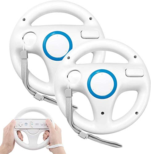 Steering Wheel for Wii Controller, 2 pcs White Racing Wheel Compatible with Mario Kart, Game Controller wheel for Nintendo Wii Remote Game-White