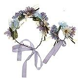 Beeria Juego de corona para novia, tocado de muñeca, flores para novia, dama de honor, boda, foto o diadema, accesorio para el pelo