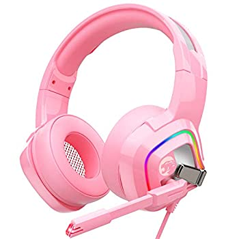 ZIUMIER Z66 Pink Gaming Headset for PS4 PS5 Xbox One PC Wired Over-Ear Headphone with Noise Isolation Microphone LED RGB Light,Surround Sound