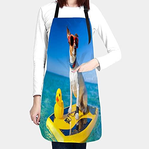 RUEMAT Delantales de Cocina con Bolsillo,Perro navegando en la Tabla de Surf con Gafas de Sol,Delantal Impermeables para Hombre Mujer Delantale para Jardinería Restaurante Barbacoa Cocinar Hornear