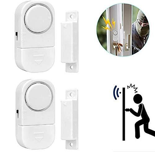 Allarme antifurto wireless per porta di casa, finestra, sicurezza domestica, sensore magnetico, antifurto, antifurto, fai da te, facile da installare, confezione da 2 pezzi, colore: bianco