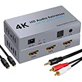 LiNKFOR 4K HDMI Audio Extractor with 1X2 HDMI Splitter HDMI to Optical SPDIF