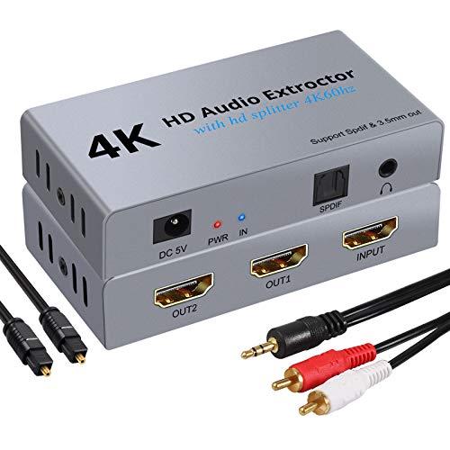 Extractor de Audio 4K 60Hz 3D DAC Adaptador HDMI a HDMI HDCP 1.4 con 2 Salidas SPDIF Óptico Toslink YUV 4:4:4 Jack 3.5mm Convertidor HDMI a HDMI para PS3/4 Reproductor de BLU-Ray/DVD/PC/HDTV