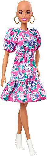 Barbie Fashionista Muñeca alopécica con Vestido de Flores y Mangas abombadas y Accesorios de Moda de Juguete (Mattel GYB03)