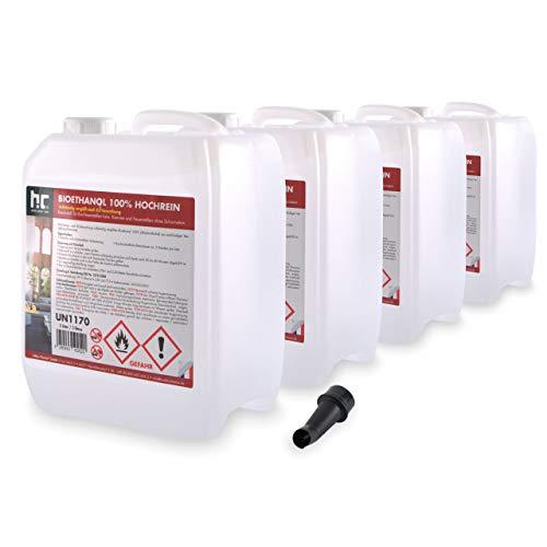 Höfer Chemie 4 x 5 L Bioéthanol 100 % de haute pureté pour cheminée à éthanol, godets à éthanol, feu de table et braséros au bioéthanol