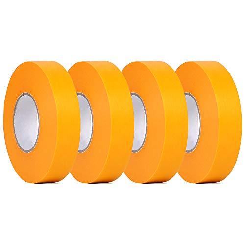 塗装用マスキングテープ 4巻入 幅24mm×長20m 車用 養生テープ 仮止めテープ プラモデル塗装 建築塗装 カーメイク ホビー 手芸 DIY 黄色