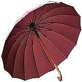 MGEE Winddichter Regenschirm-Pavillon Halbautomatische Plane Großer Faltschirm Doppelschicht Winddichter Massivholzschirm Oberfläche Langer Griff 115 cm(Color:B.)