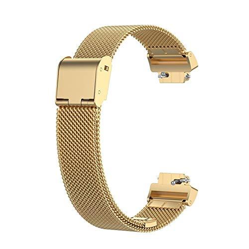 Banda De Reloj De Reloj De Metal De Bucle Milanese Correa De Muñeca De Acero Inoxidable para Inspire HR Inspire La Correa De Reemplazo Unisex (Color : Gold)