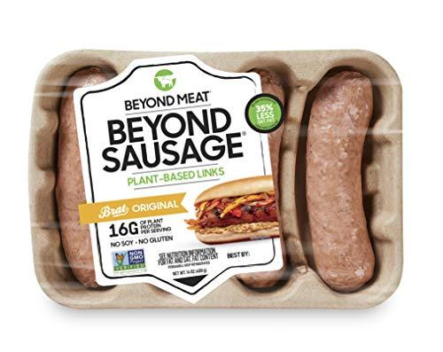 Beyond Sausage from Beyond Meat, Plant-Based Dinner Sausage Links, Frozen, Original Bratwurst, 4 Links per Package (14oz.)