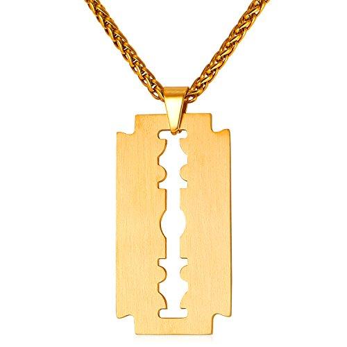 U7 18k vergoldet Rasierklinge Anhänger mit Kette Edelstahl Halskette Razor Blad matt gebürstet Geschenk für Männer Herren Freund Junge, Gold-Ton