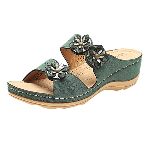 Buy Aunimeifly Sandals for Women Flats Open Toe Thick Bottom Comfortable Shoes Wedges Flower Roman S...
