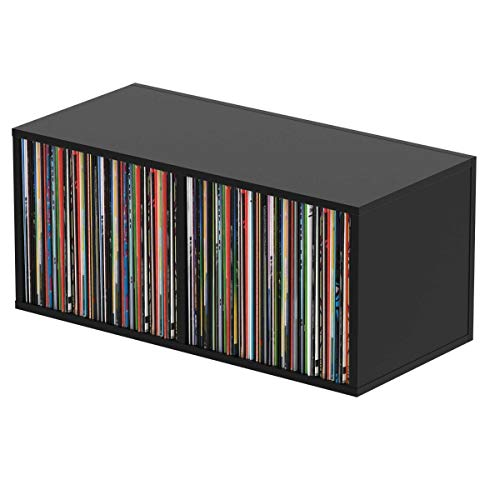 Glorious Record Box black 230 - bis zu 230 Platten im 12''-Format, mit Trennwand (115 Platten pro Fach), problemlos stapelbar, schwarz