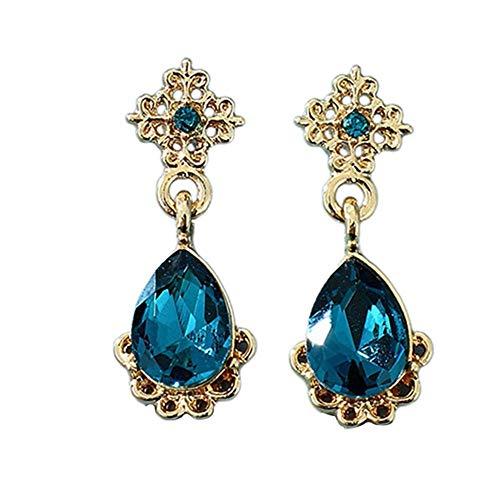 Grifo Forma de Gota Pendientes de Encaje Huecos Adornos Pendiente de Moda Regalo Femenino Azul