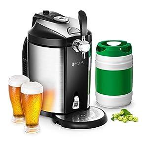 Royal Catering Dispensador de Cerveza Tirador de Cerveza con Refrigeración RCBD-5L (para todos los barriles de 5 L, Refrigeración 2-12 °C, Pantalla LED, incl. 3 Cartuchos de CO2)