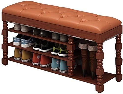 Zapatero PU Asiento tapizado con 3 estantes y 1 cajón del Armario Habitación Sala Corredor Cambio Zapato Banco Marco de Madera Maciza Que soportan el Peso 120kg (Color : White, Size : 100x35x45cm)