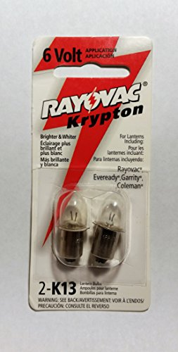Rayovac K13-2TA Krypton Bulb for 6V Applications with Flanged Base, Two on card