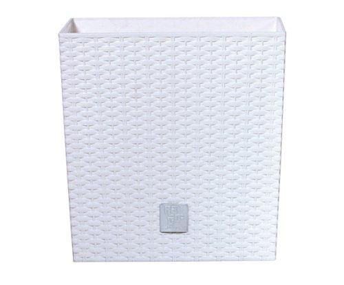 Prosperplast Blumentopf Rato Low (Rattanoptik, herausnehmbarer Einsatz, 32x32x32,5 cm, 32 l, weiß) DRTS325L-S449