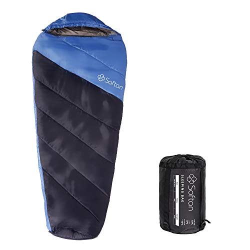 Softan - Sacco a pelo con sacco a compressione portatile, leggero, resistente all\'acqua, 4 stagioni per adulti, escursionismo, viaggi, campeggio e attività all\'aperto