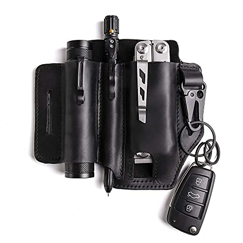 Ambility Multitool Leather Sheath, Flashlight Leather Holster with Key Ring, Handmade Organizer Pocket for Tools, Pocket Organizer Storage Belt Waist Bag for Camping