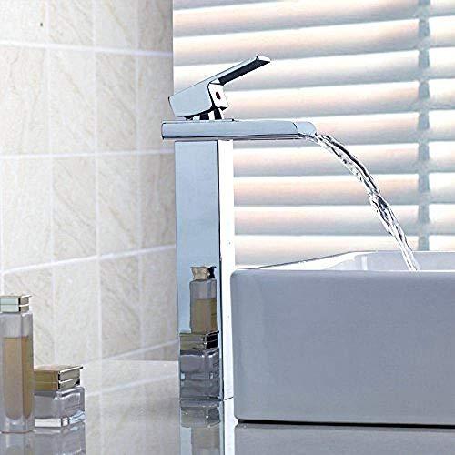 Nuevo tratamiento de superficie cromado lavabo monomando lavabo aliviadero amplio latón baño grifo grifo grifo cascada lavabo