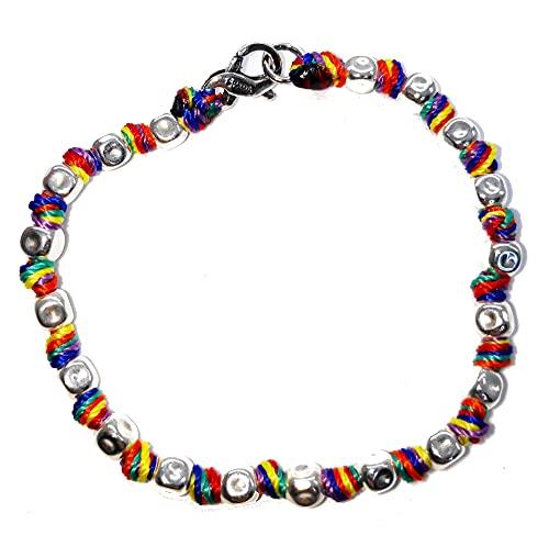 SPADARELLA Pulsera de mujer con pepitas de 5 mm de plata 925 y nudos de algodón marino de color arcoíris / Rainbow de 17 cm de largo