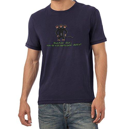 NERDO - Dreiköpfiger AFFE - Herren T-Shirt, Größe M, Navy