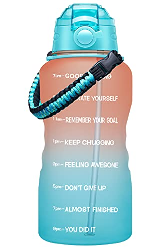 Fidus Large 1 Gallon Motivational Water Bottle with Paracord Handle & Removable Straw - BPA Free Leakproof Water Jug with Time Marker to Ensure You Drink Enough Water Throughout the Day-Orange/Green