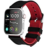 Apple Watch Band Silicone Compatible Apple Watch 42mm 44mm 38mm 40mm, Fullmosa Rainbow Soft Rubber iWatch Band with Stainless Steel Buckle for Apple Watch SE/6/5/4/3/2/1, Black Top/ Red Bottom 44mm 42mm
