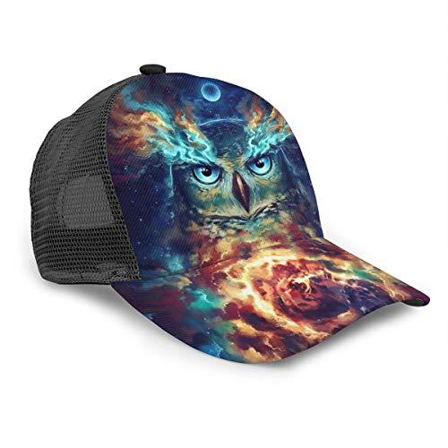 Unisex Baseball Cap Moon Universe Owl Square Diamond Caps Snapback Bill Hip Hop Hats/Hut Schwarz