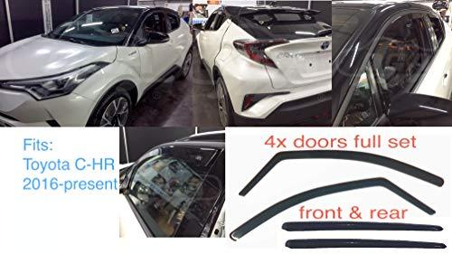 4x Windabweiser kompatibel mit Toyota C-HR 2016-Heute Dunkles Rauchglas getöntes AcrylglasTür-Seitenfenster Innenseitenfenster Regen- und Schneefangen