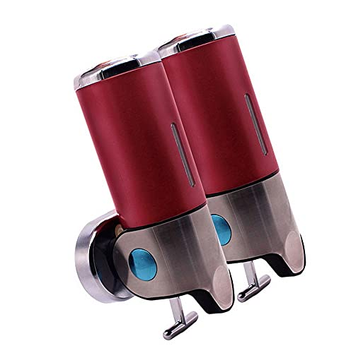 Handgel dispenser wandmontage, zeepdispenser aan de muur pomp dispenser flessen Handmatige zeepdispenser van roestvrij staal aan de muur in hotelbadkamer(rood)