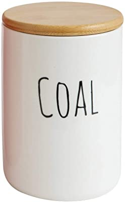 Creative Co-Op Coal Holiday Stoneware Canister with Bamboo Lid