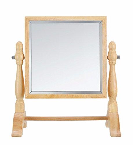 WanJiaMen'Shop Base in Legno Specchio Creative Double-Sided Desktop Specchio Specchio cosmetico, Quadrato