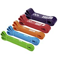SUNPOW Pull Up Assistance Bands - Set of 5 Resistance Heavy Duty Workout Exercise Crossfit Stretch Fitness Bands Assist Set for Body, Instruction Guide and Carry Bag Included