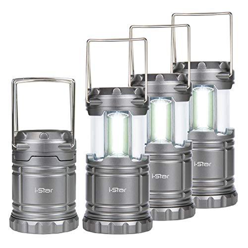 Lampe Camping LED Portable, 4 Lanternes Pliables à Piles pour Camping, Cave, Tente, Jardin, Eclairage de Secours