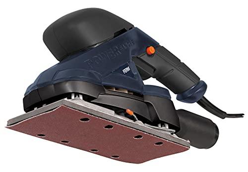 FERM Ponceuse vibrante 180W - Fixation avec Velcro et pinces - Incl. adaptateur d'aspirateur et 10 pièces papiers abrasifs (G80 & G120)