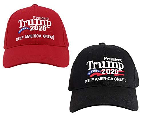 2 Trump 2020 Campaign Cap Keep America Great Hat Donald Trump Slogan Cap Adjustable Baseball Hat Embroidered-Black+ Red