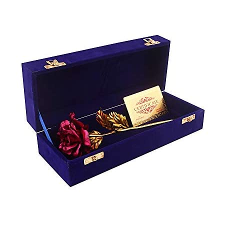 Msa Jewels Artificial Rose Flower With Plastic Box (Red, 1 Piece)