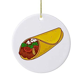 None-Brands Cartoon Burrito Circular Souvenir 2020 Christmas Ornament Xmas Ornament Tree Decor Xmas Tree Hanging Decorations Home Decor New Year Keepsake Gift