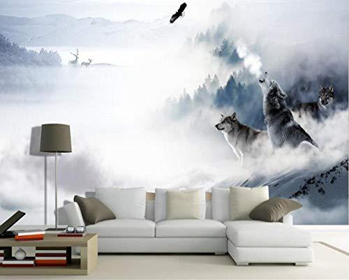 Vliestapete 3D Groß High Fashion Persönlichkeit Seide Stofftapete Wolf Schnee Elch Tv Schlafzimmer Hintergrund Wand @ 400 * 280