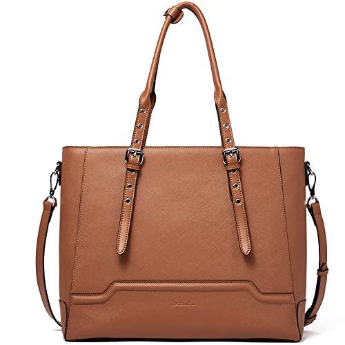 BOSTANTEN Leder Handtasche Damen Businesstasche Schultertasche 15 Zoll Laptoptasche Groß Designer Shopper Braun