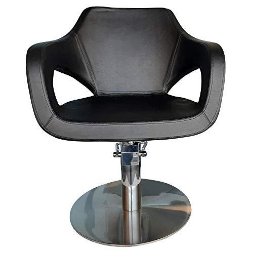 VAKON SALON - Friseurstuhl höhenverstellbar mit Hydraulik und runde Bodenplatte aus Edelstahl, Friseursessel, Coiffeurstuhl, Friseureinrichtung Barber
