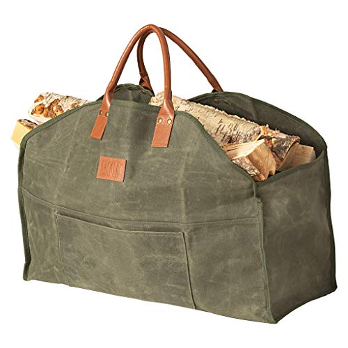 Sackliin Heavy Duty Waxed Canvas Log Carrier Firewood Carrier Tote Bag Wood Carrier for firewood Close End  no Mess Fireplace Wood Stove Accessories Khaki